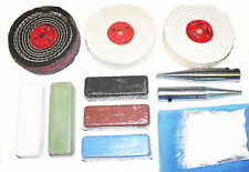 "Bench Grinder Conversion Metal Polishing Kit - 3"" x 1/2"" Mops - 12.5mm Adapters"