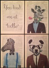 4 X Girafe Panda Zèbre Motifs Vintage Dictionary Pages Art Mural Photos Animal