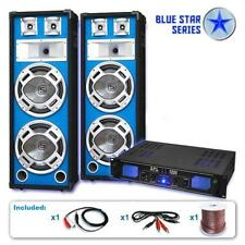 DJ PA SYSTEM SET 1600W BLUE LED BASS SPEAKERS AMPLIFIER DISCO CLUB PARTIES AMP