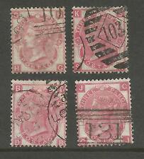 SG103 QV 3ds ROSE 1868-72  PLATES 5,6,8 & 9 FINE USED CAT £270