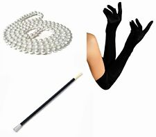 1920s Fancy Dress Charleston Flapper Beads Cigarette Holder Long Black Gloves