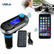 Neu Bluetooth Car Kit MP3 Player FM Transmitter SD LCD Dual USB Charger Blau