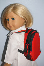 """Red Zipper Backpack Fits 18"""" American Girl Boy Doll Clothes Accessories"""