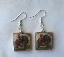 Turkey Earrings Vintage Holiday Art Scrabble Charm Thanksgiving Day