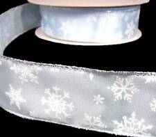 """5 Yds Christmas White Fuzzy Snowflakes Winter Blue Wired Ribbon 1 1/2""""W"""