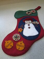 FELT CHRISTMAS STOCKING APPLIQUE BUTTONS YOYOS SNOWMAN HAND STITCHED RED GREEN