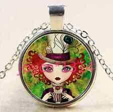 Alice in Wonderland Cabochon silver Glass Chain Pendant Necklace *XP-2310