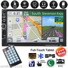 "Free Map+GPS Navi 2 DIN 7"" Car Stereo MP3 MP5 Player FM USB TF Bluetooth Radio"