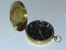 "Solid Brass 3"" Pocket Compass with Hinged Lid NEW Free Shipping"
