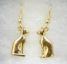 Pair of Egyptian Cat Earrings 22ct Gold Plated, Gift Boxed (wa)
