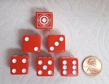 DICE - 16mm OPAQUE RED w/CUSTOM TARGET ON #! SIDE - WHITE TARGETS & PIPS