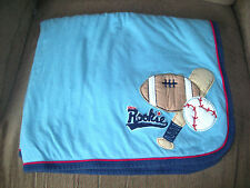 Carter's OS Light Blue Quilted Little Rookie Sports Baby Blanket Dk Blue Reverse