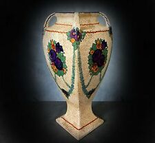 STUNNING VERY LARGE HAND PAINTED ERNST WAHLISS AUSTRIAN LATE SECESSIONIST VASE