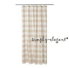 NEW AGGERSUND Shower Curtain Beige White Check Plaid Pattern 702.648.65