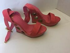 "Pink/Gold Open Hearts 5.5"" high wedge heel Shoe Ankle Strap Toe Strap Sz 9"