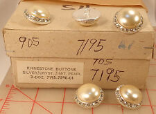 "36 vintage Czech shank buttons glass pearl center rhinestones silver 25mm 1"" 905"