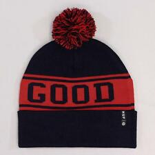 Huf Good Luck Winter Ski Snowboard Bobble Pom Hat Navy Blue Red