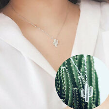 1Pc Cute Cactus Shaped Pendant Silver Chain Collar Necklace Jewelry Decoration