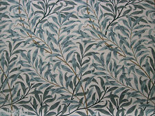 "WILLIAM MORRIS CURTAIN FABRIC""Willow Bough's Major"" 1.1 MTRS CREAM/GREEN LINEN U"