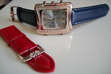 Rose Gold Finish/Blue with Red Complementary Band Designer Style Fashion  Watch