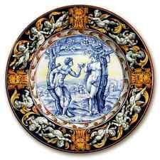 Grande piatto da parete Adamo ed Eva, tesa con putti fondo blu