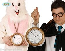 GIANT CLOCK White Rabbit Medallion Alice in Wonderland Rapper Fancy Dress