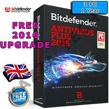 BITDEFENDER ANTIVIRUS PLUS 2015 - 3 PC User 1 Year NEW SEALED DVD! 2017 Upgrade