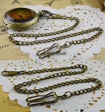 Cinnamon Bronze Alloy Chain FOR Antique Quartz Women Mens Vintage Pocket Watch