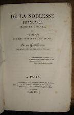 noblesse française selon la charte / un mot sur les ordres de chevalerie.SCHONEN