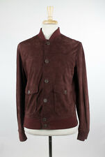 NWT. BRUNELLO CUCINELLI Burgundy Red Suede Leather Bomber Jacket L $4695
