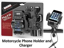 Motorcycle Handlebar Cell Phone Charger Mount IPhone GPS MP3 Yamaha
