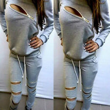 Womens 2Pcs Tracksuits Tops&Pants Set Sport Wear Casual Suit Size Jopping Hoodie