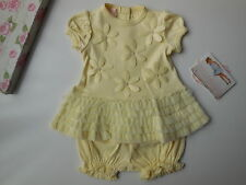 GORGEOUS BISCOTTI BABY GIRL YELLOW DRESS BLOOMERS NAPPY COVER SIZE 0000 NEWBORN
