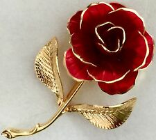 Estate Vintage Hallmarked Signed Cerrito Gold Tipped Red Petal Rose Pin Brooch