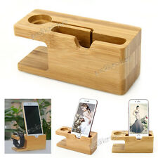 2in1 Bamboo Charging Dock Stand Holder For Apple Watch iWatch iPhone 6 Plus 6S 5