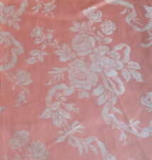 Antique French Salmon Pink Apricot Damask Roses Ribbons Ticking Fabric