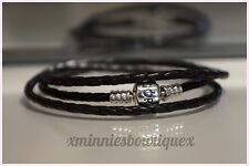 GENUINE PANDORA MOMENTS TRIPLE WOVEN BLACK LEATHER CHARM BRACELET S925 ALE 57CM