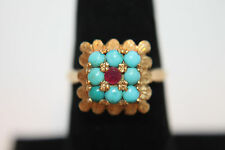 Vintage Solid 18K Yellow Gold Turquoise Ruby Ring Sz 8 3/4 BAO 750