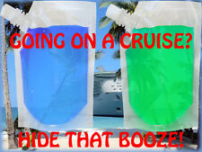 2 PACK PLASTIC 32 OZ CLEAR HIDDEN FLASK SET CRUISE RUM SPORTS CONCERTS RUNNERS