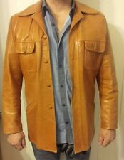 Men's Vtg 70's Camel Leather Car Coat Sport Jacket - REMY LEATHER FASHIONS