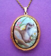 "OTTERS! Darling PORCELAIN ""OTTER"" CAMEO Costume Jewelry Locket Pendant Necklace"