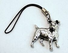 Jack Russell Dog Bag / Phone Charm in Fine English Pewter, Handmade, (tsh)