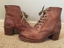 New FRYE Women's Sabrina Lace Up Distressed Saddle Leather Boots Sz 9.5 $358