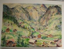 Orignal Aquarell Bild Alpenlandschaft Berge Alpen Widmung 1970 Qualität 62x58 cm