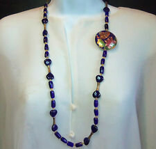 DARK BLUE HEART BARREL POURED ART GLASS CLOISONNE  NECKLACE SO PRETTY VINTAGE