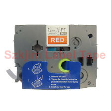"""Brother TZ-435 P-Touch 1/2 x 26""""  Compatible White on Red Tape 12mm 8m TZe-435"""