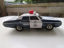 Vintage 1960s Highway Patrol Police Car Bump N Go Battery Operated Tin Litho Toy