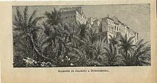 Stampa antica BORDIGHERA scorcio con palme Imperia 1886 Old antique print