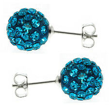 925 Silver Round Blue Pave Crystal Disco Ball Stud Earrings