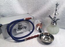 "YAHYA Frosted Glass Base HOOKAH PIPE KIT with Silver Carrying Case - 10"" Tall"